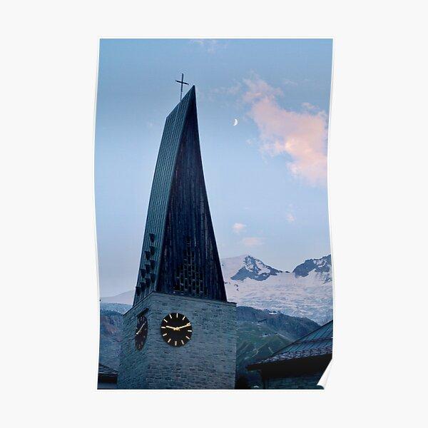 Saas-Fee church tower Poster