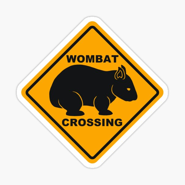 Wombat Crossing Sign Sticker
