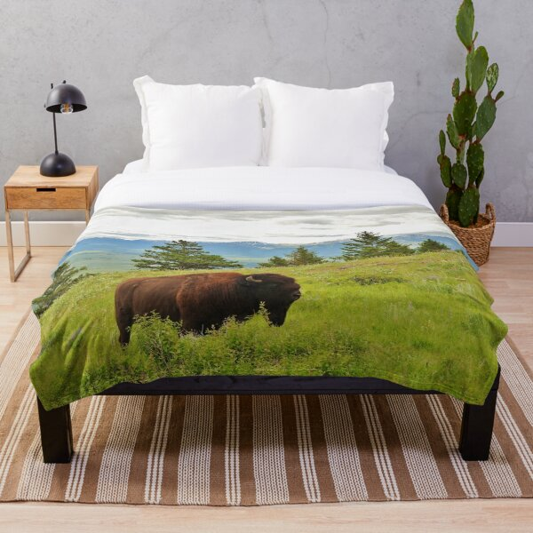 Spring Bison Throw Blanket