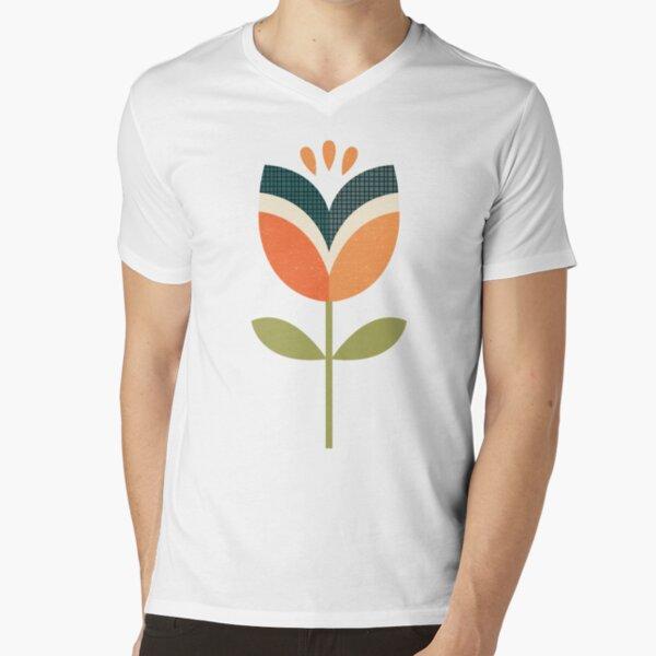 Retro Tulip - Orange and Olive Green V-Neck T-Shirt