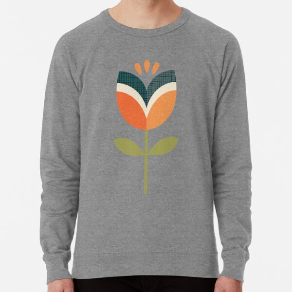 Retro Tulip - Orange and Olive Green Lightweight Sweatshirt