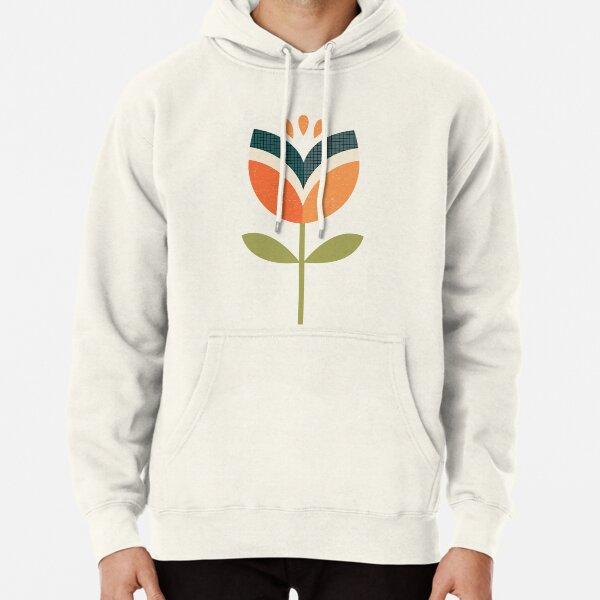 Retro Tulip - Orange and Olive Green Pullover Hoodie