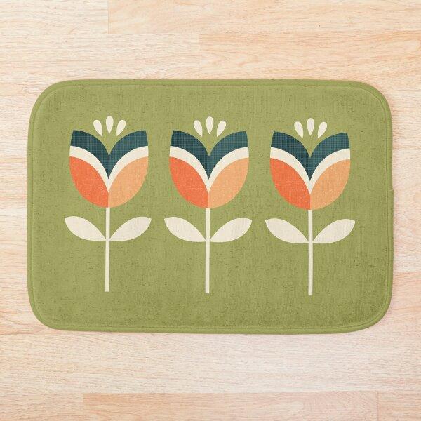 Retro Tulip - Orange and Olive Green Bath Mat