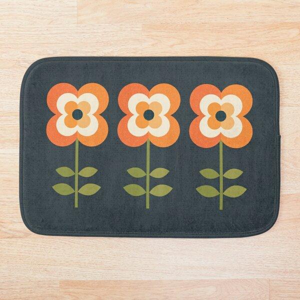 Retro Flower - Orange and Charcoal Bath Mat