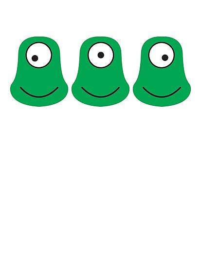 3 cute aliens looking each way by jazzydevil