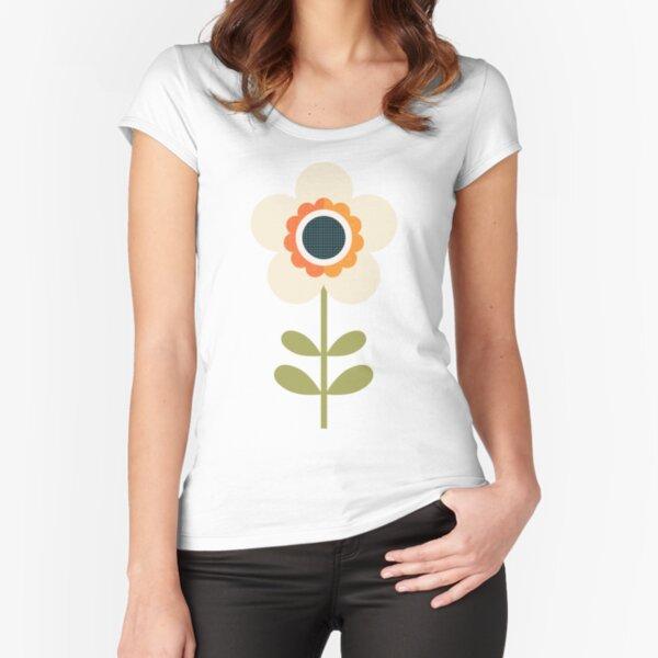 Retro Blossom - Orange and Cream Fitted Scoop T-Shirt