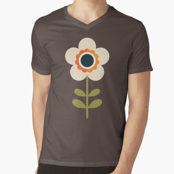 Retro Blossom - Orange and Cream V-Neck T-Shirt