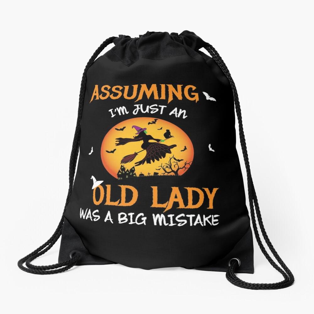 Old Lady Witch Broomstick Black Cat Bats Spider. Drawstring Bag