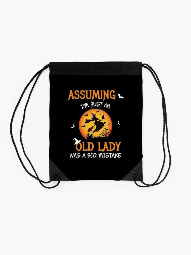 Alternate view of Old Lady Witch Broomstick Black Cat Bats Spider. Drawstring Bag