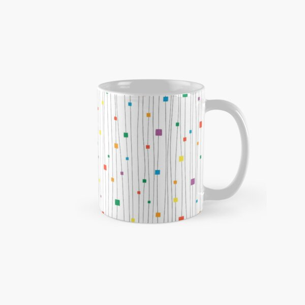 Squares and Vertical Stripes - Rainbow on White - Hanging Classic Mug