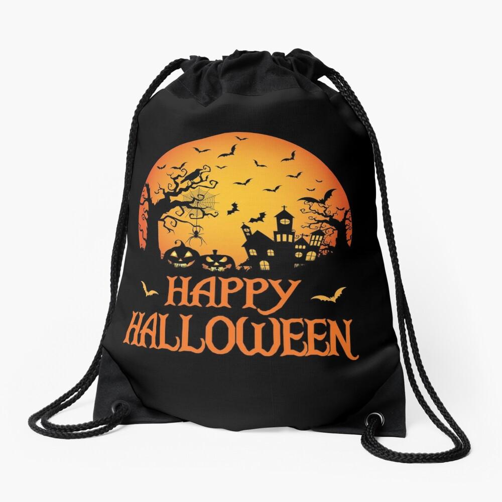 Haunted House Spider Cobweb Bat Crow Moonlit Gourd. Drawstring Bag
