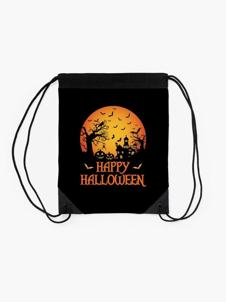 Alternate view of Haunted House Spider Cobweb Bat Crow Moonlit Gourd. Drawstring Bag