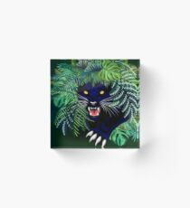 Black Panther Spirit coming out from the Jungle Acrylic Block