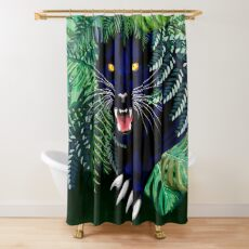 Black Panther Spirit coming out from the Jungle Shower Curtain