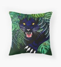 Black Panther Spirit coming out from the Jungle Throw Pillow