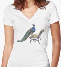 Peacock Fitted V-Neck T-Shirt