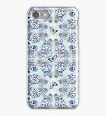 Succulent Motif and Butterfly #  Cerulean Blue iPhone Case/Skin