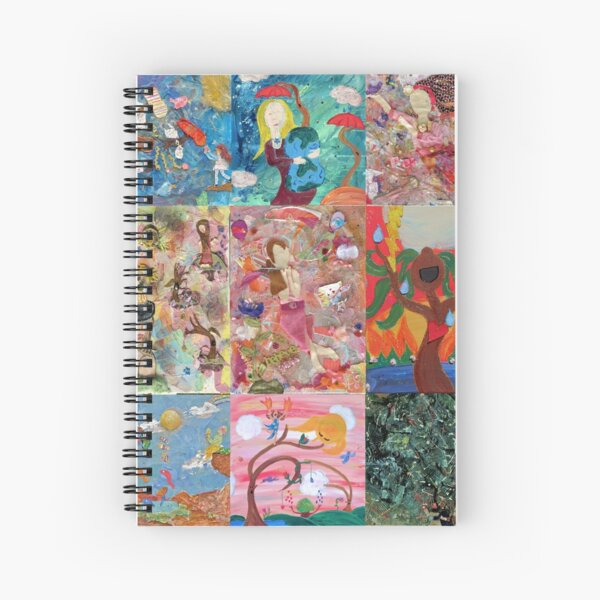 Whimisical Beautiful Detour Collection Collage Spiral Notebook