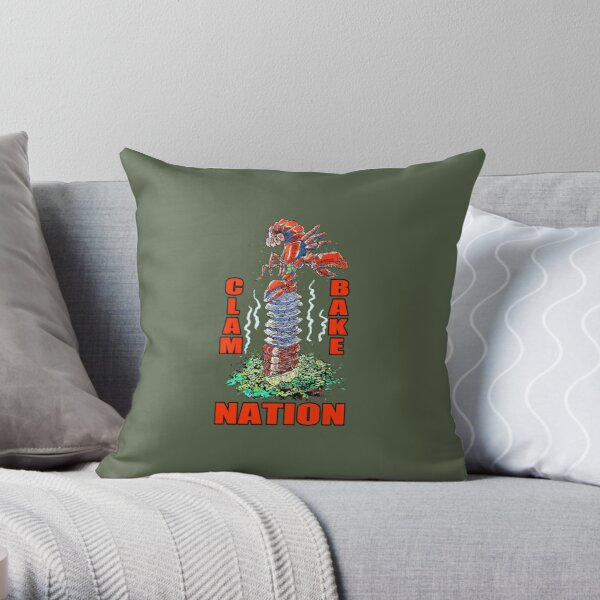 Clambake Nation - A New England Clam Bake with Lobsta, Clams, and Shrimp Throw Pillow