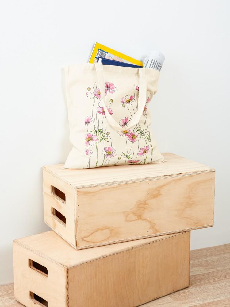 Alternate view of Pink Cosmos Flowers Tote Bag