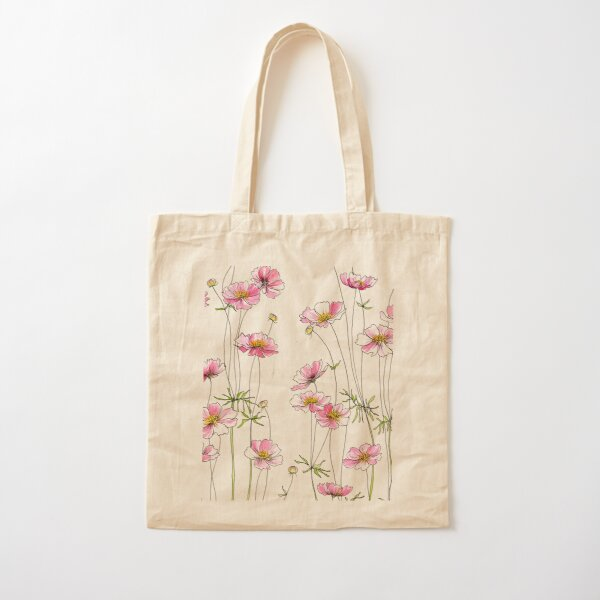 Pink Cosmos Flowers Cotton Tote Bag
