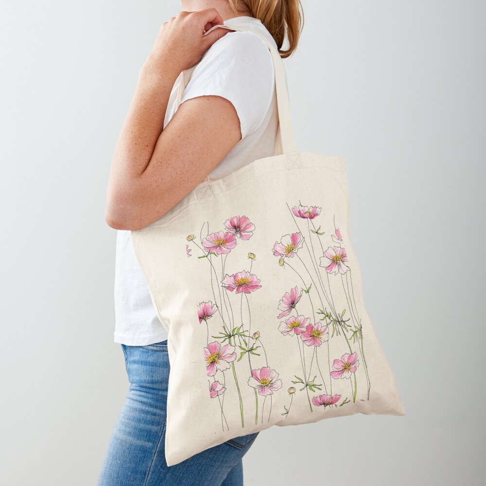 Pink Cosmos Flowers Tote Bag