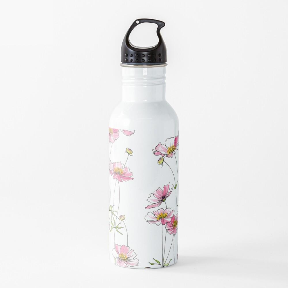Pink Cosmos Flowers Water Bottle