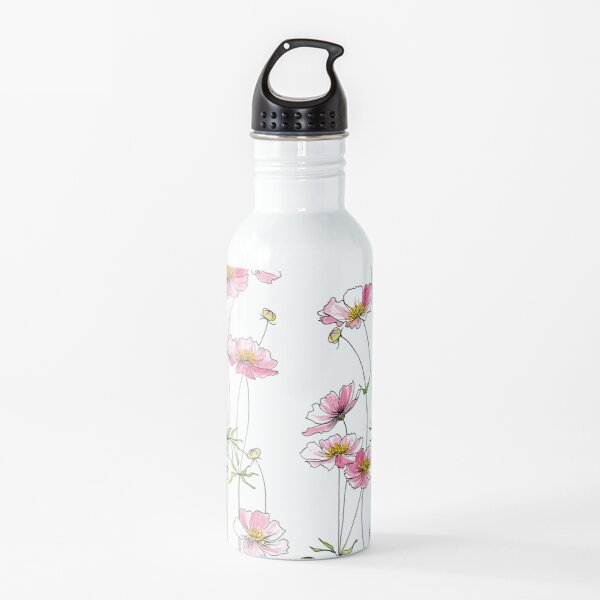 Pink Cosmos Flowers Water Bottle