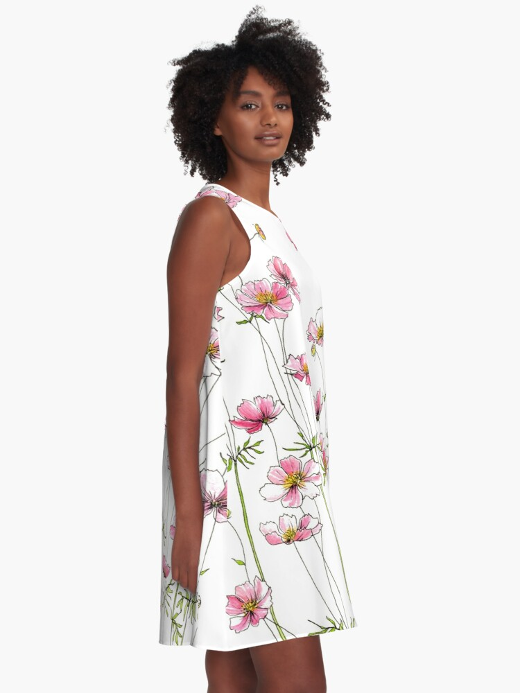 Alternate view of Pink Cosmos Flowers A-Line Dress