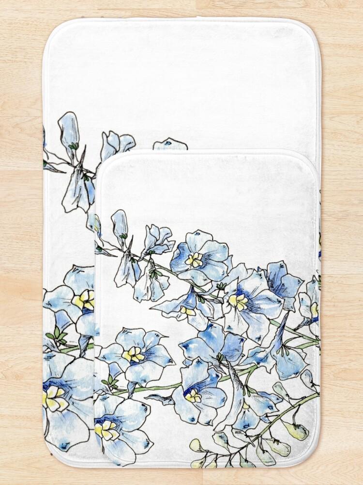Alternate view of Blue Delphinium Flowers Bath Mat