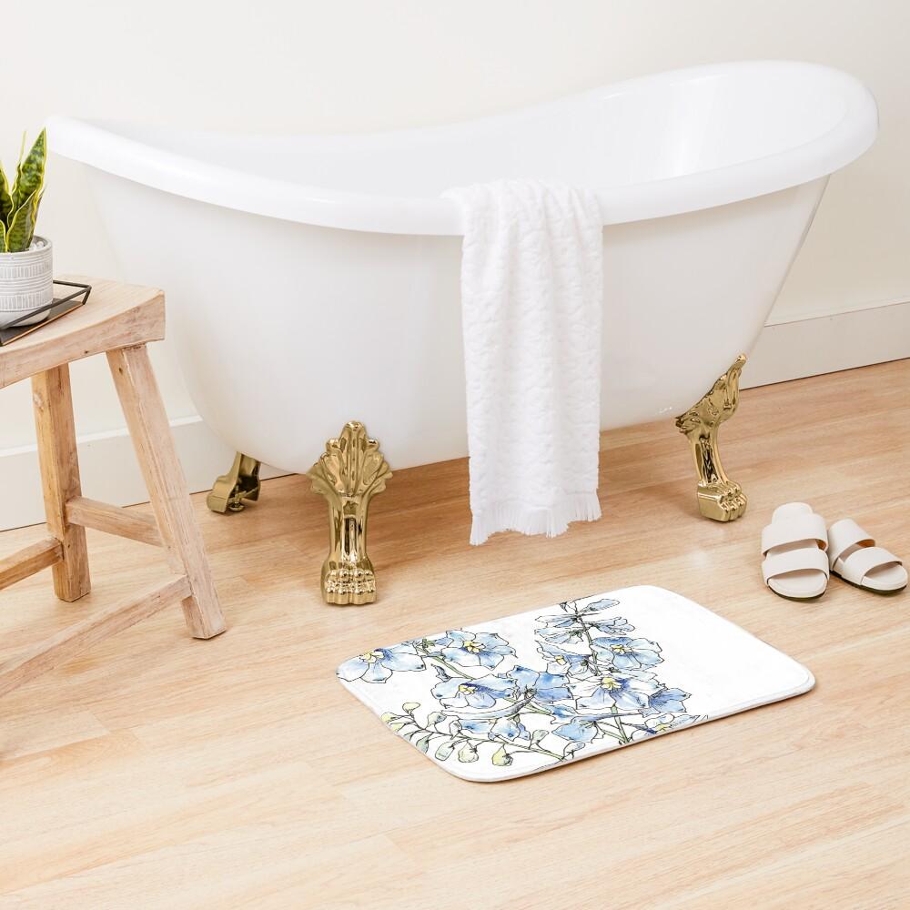 Blue Delphinium Flowers Bath Mat