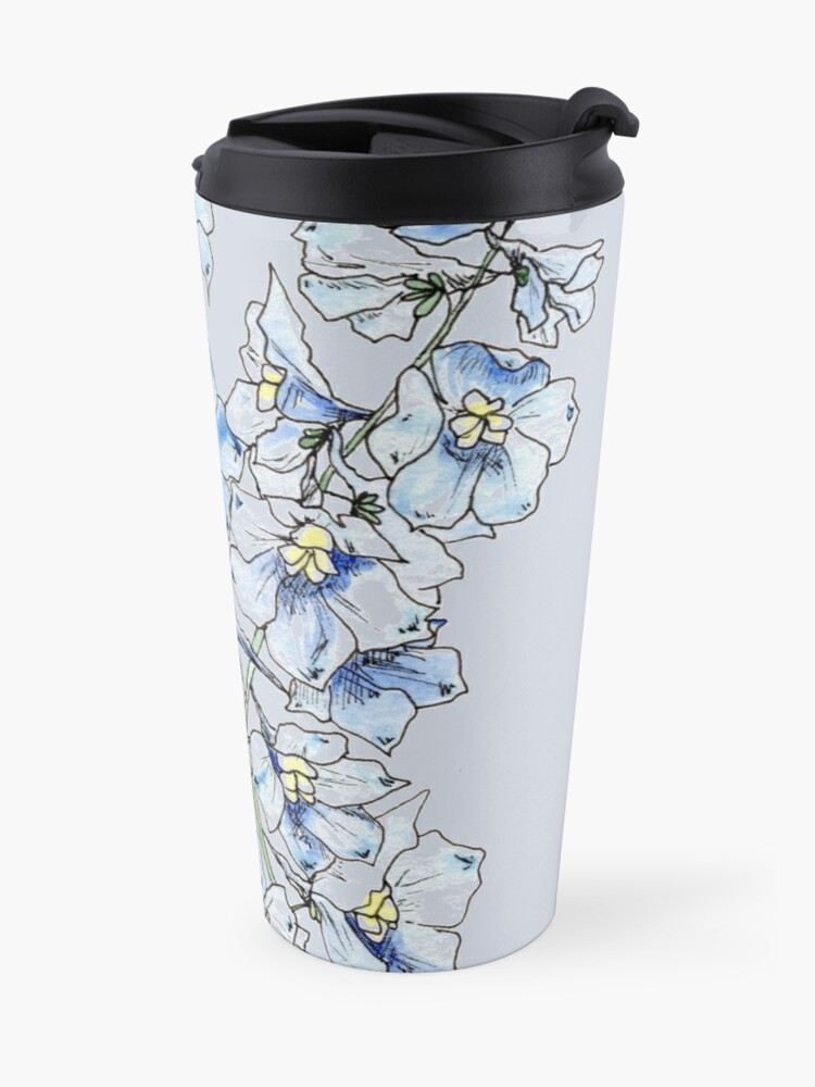 Alternate view of Blue Delphinium Flowers Travel Mug