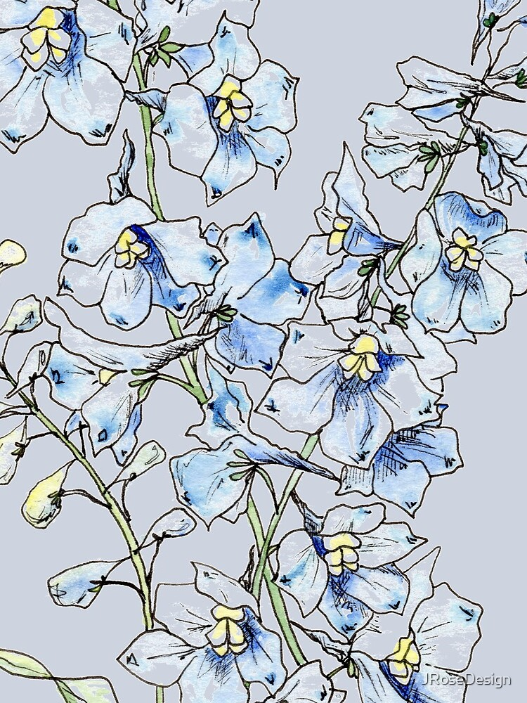 Blue Delphinium Flowers by JRoseDesign