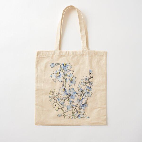 Blue Delphinium Flowers Cotton Tote Bag