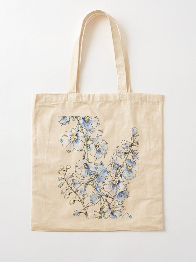 Alternate view of Blue Delphinium Flowers Tote Bag