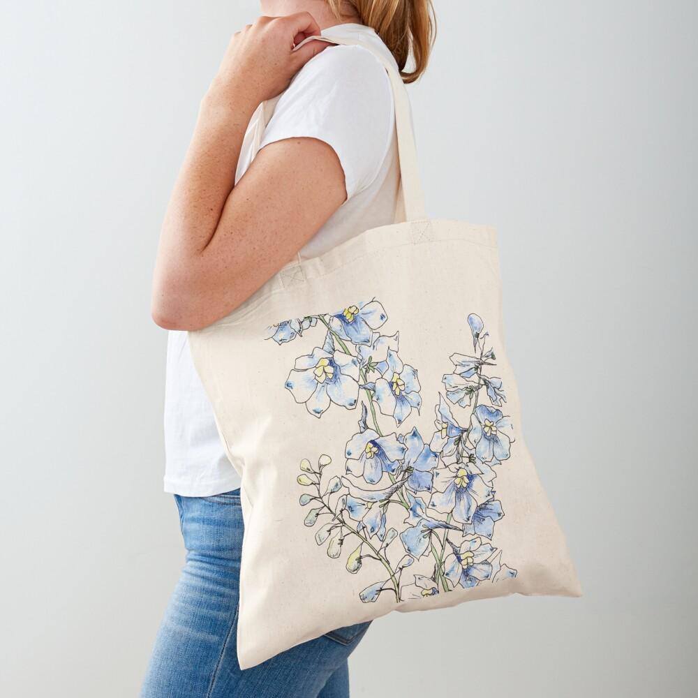 Blue Delphinium Flowers Tote Bag