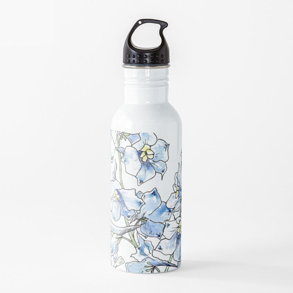 Blue Delphinium Flowers Water Bottle
