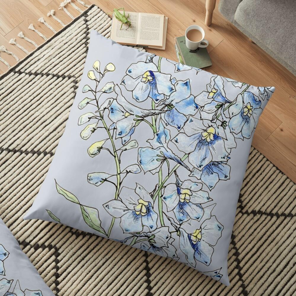 Blue Delphinium Flowers Floor Pillow