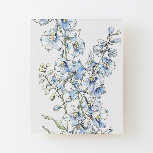 Blue Delphinium Flowers Wood Mounted Print
