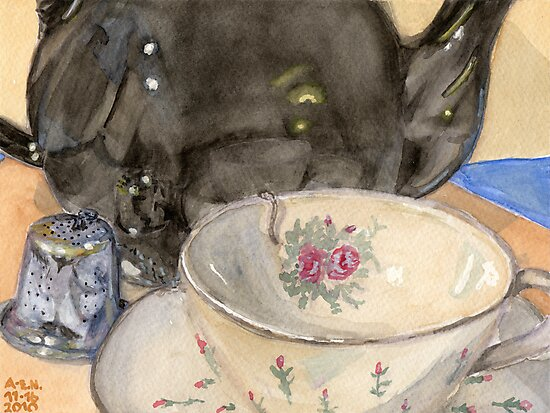 Tea Bell and Cup by Amy-Elyse Neer