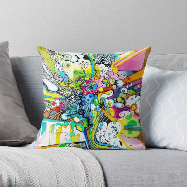 Tubes of Wonder - Abstract Watercolor + Pen Illustration Throw Pillow