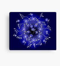 Flower Swirl - Blue Canvas Print