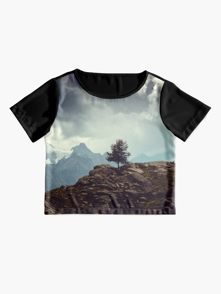 Alternate view of Majestic Mountains and a lone tree Chiffon Top