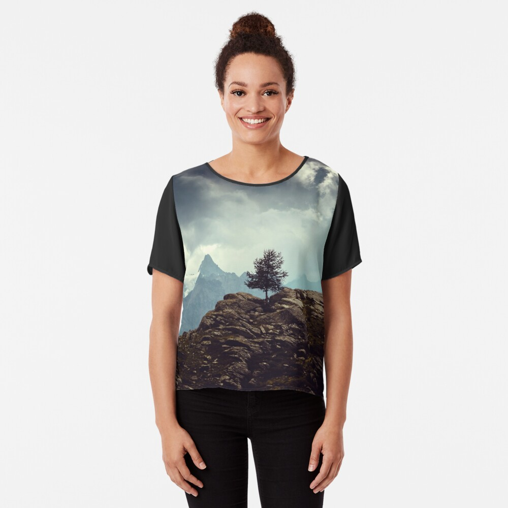 Majestic Mountains and a lone tree Chiffon Top