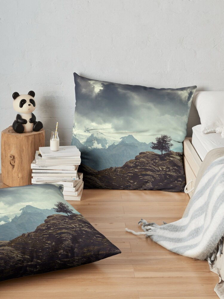 Alternate view of Majestic Mountains and a lone tree Floor Pillow