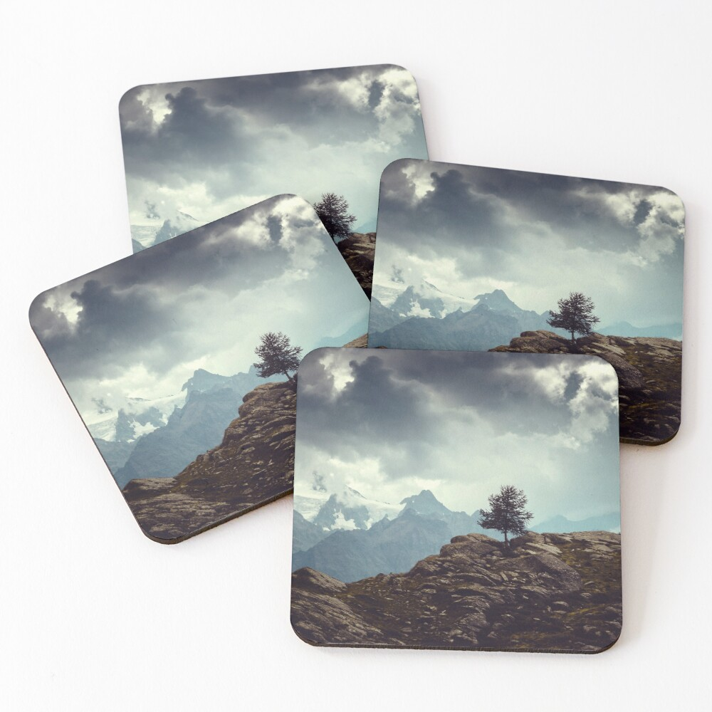 Majestic Mountains and a lone tree Coasters (Set of 4)