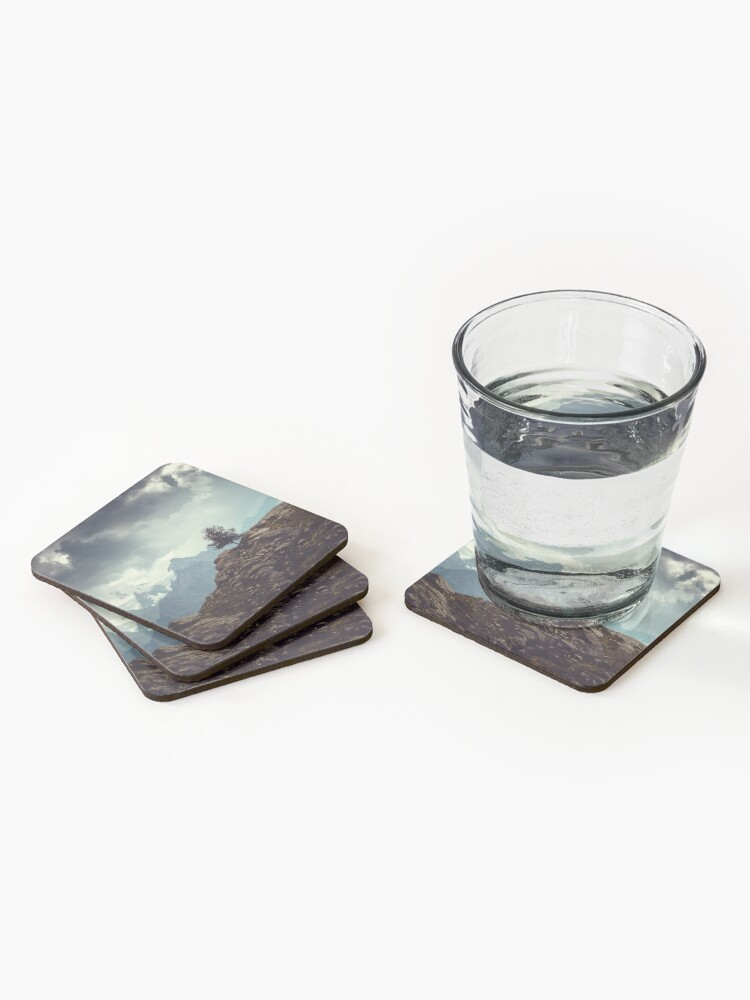 Alternate view of Majestic Mountains and a lone tree Coasters (Set of 4)