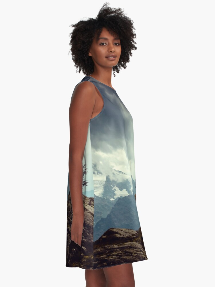 Alternate view of Majestic Mountains and a lone tree A-Line Dress