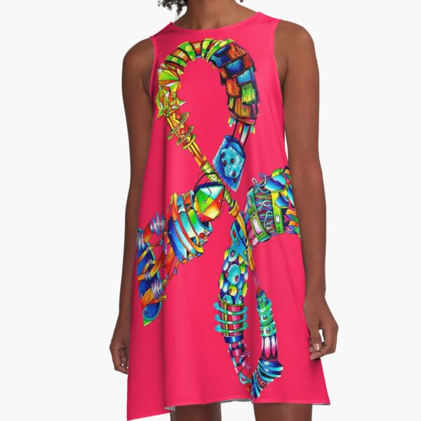 Everything Fits Together - Illustration - Color it Yourself! A-Line Dress