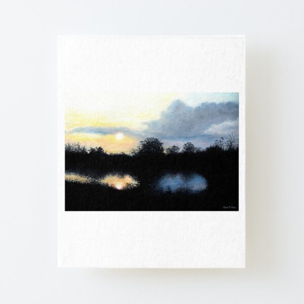 Reflexiones al atardecer en un estanque Lámina montada de lienzo